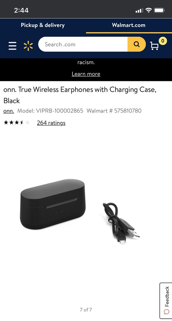 True Wireless Earphones with Charging Case, Black