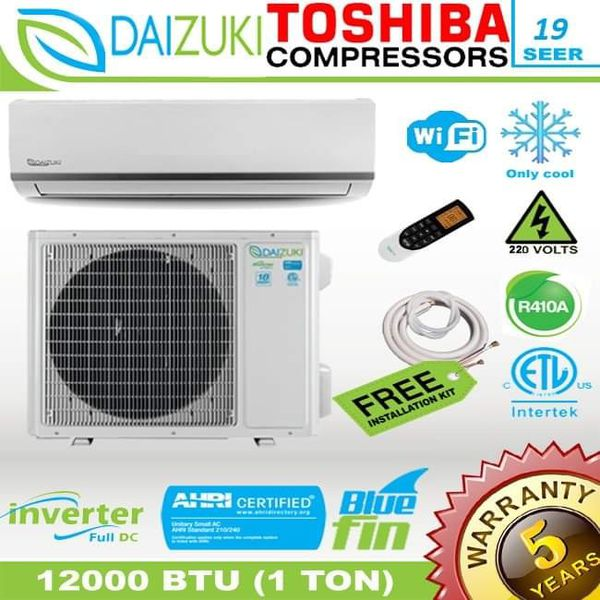 Daizuki 12000 BTU Air Conditioner Mini Split 19 SEER INVERTER AC Ductless Only Cold 220V