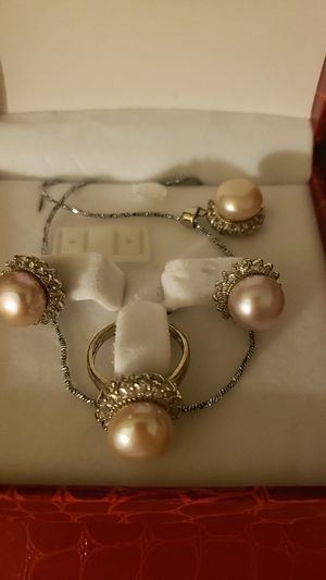 pink pearls set ring earrings and necklace with russian diamonds for Sale in Hayward, CA