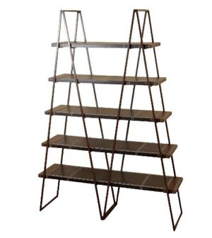 71 inch metal bookcase w leather wrapped shelves for Sale in San Francisco, CA