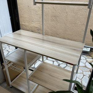 "Mr IRONSTONE Kitchen Baker's Rack Utility Storage Shelf 35.5"" Microwave Stand 3-Tier+4-Tier Shelf for Spice Rack Organizer Workstation (Light Beige) for Sale in Miami, FL"