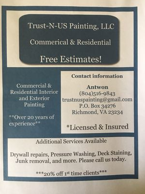 Free estimates now! Exterior/interior painting!! for Sale in Moseley, VA
