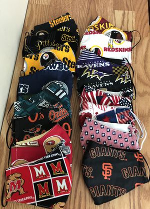 Redskins, MLB Baltimore orioles, NFL Philadelphia Eagles, San Francisco 49ers, Dallas Cowboy Handmade Face cover for Sale in Chillum, MD