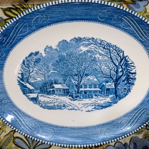 Vintage Blue Royal China Currier & Ives, the Old Inn in Winter Serving Platter for Sale in Coronado, CA