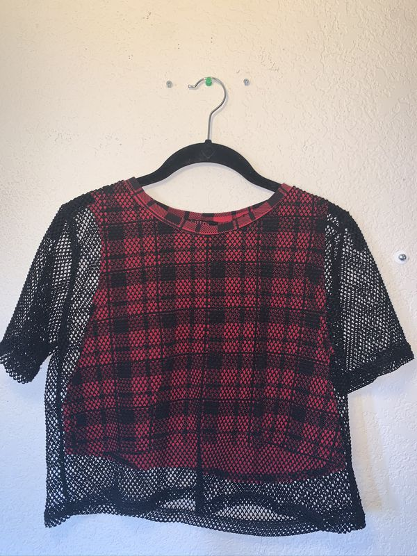 Mesh plaid shirt