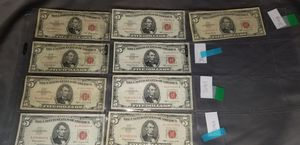 9 red seal $5 bills for Sale in Chicago, IL