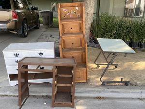 FREE. Project desk,dresser,bunkbed stairs, glass desk,chair for Sale in San Jose, CA