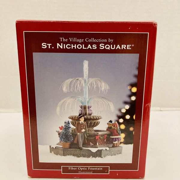 The Village Collection Christmas By St. Nicholas Square Fiber Optic Fountain Illuminated