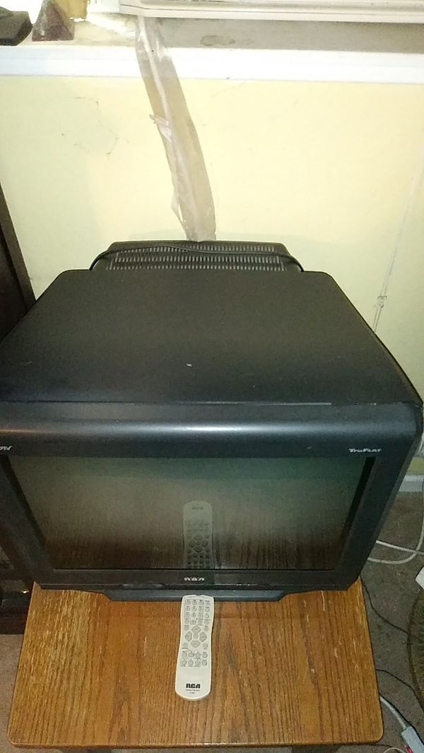 Free. 20 inch diagonal flat screen TV. Works fine,with remote