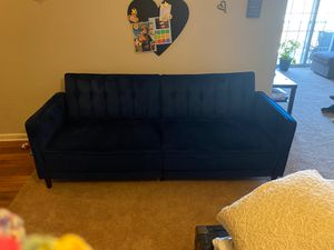 Blue velvet sleep sofa futon for Sale in Apex, NC