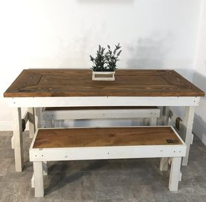 """65"""" New Rustic Farmhouse Dining room kitchen table with (2)custom matching benches for Sale in Chula Vista, CA"""