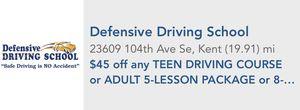 Defensive Driving School $45 Off for Sale in Bellevue, WA