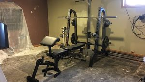 Squat rack bench set with weights home gym for Sale in St. Peters, MO