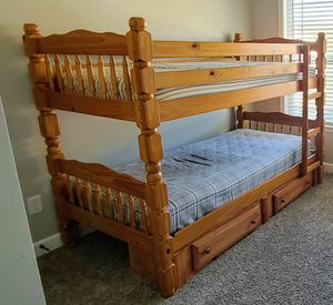 Wooden twin bunk bed with 2 drawers for Sale in Moore, SC