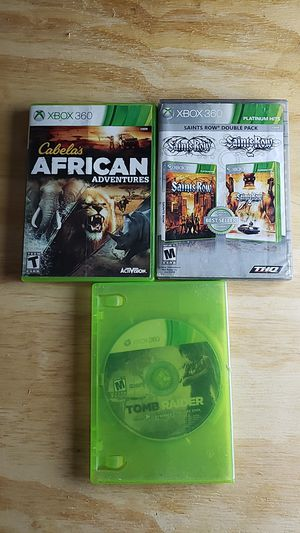 Xbox 360 Games 4 pack Cabela's African Adveture, 2 Collection Saint Row 1 & 2, Tomb Raider for Sale in Burlington, VT