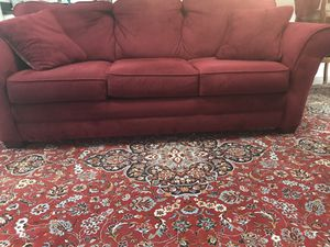 Burgundy 3-cushion sofa with a love seat(2 cushions) . Four throw pillows . Very good condition for Sale in NO POTOMAC, MD