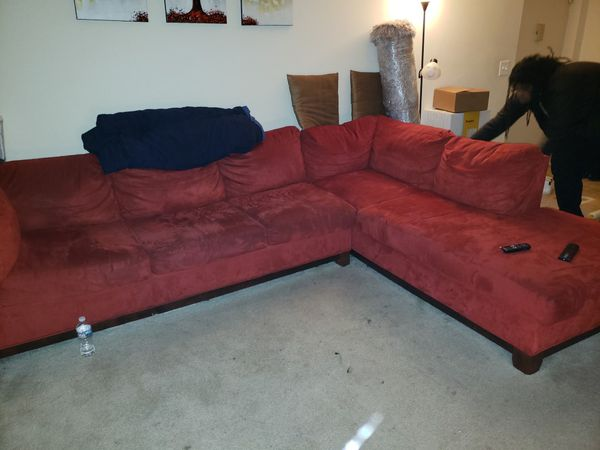 Red Suede Two-Piece Sectional