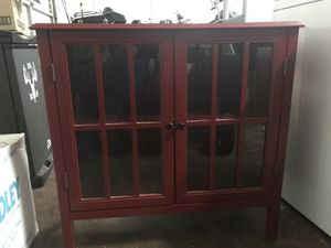 glass door cabinet - red for Sale in Las Vegas, NV