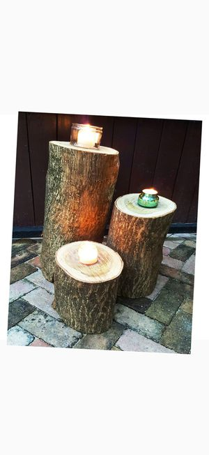 Cascading rustic wood stump set for decor restaurant sports bar smoke shop tiki bar patio furniture for Sale in Virginia Gardens, FL