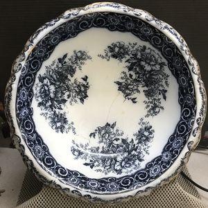 Antique 1800s Flow Blue Large Wash Basin Marked for Sale in Kennesaw, GA