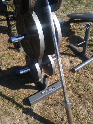 250lbs weights body solid rack.bar for Sale in Tampa, FL