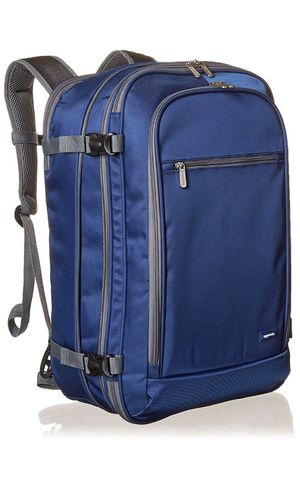 AmazonBasics Carry On Travel Backpack - Navy Blue for Sale in Moreno Valley, CA