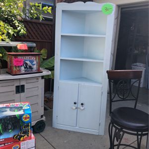 Corner Shelving Unit With Cabinet $30 for Sale in Long Beach, CA