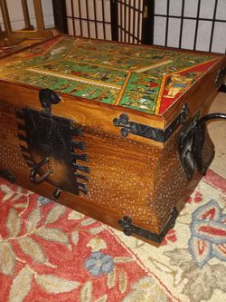 Antique Hindu Wood And Iron Box for Sale in Chevy Chase,  MD