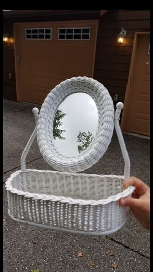 Beautiful mirror with storage basket also can to be hang on wall for Sale in Everett, WA