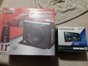 SDX pro audio sub woofer & kenwood Bluetooth stereo for Sale in Phoenix, AZ