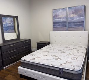 New queen bed frame grey mirror dresser and one nightstand mattress is not included for Sale in Pompano Beach, FL