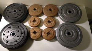 Set of 10 sandfilled disc weights for curling and dumbbell bars for Sale in Columbus, OH