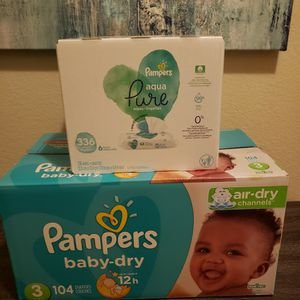 Pampers Diapers Size 3 & Pampers Baby Wipes for Sale in Bonita, CA