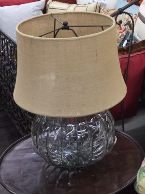 Bubble Glass Lamp with Woven Shade for Sale in Royal Oak, MI