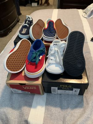 2 pairs of vans size 6 toddlers and 2 pairs of Ralph Lauren size 4.5 and size 5 toddlers. Almost brand new for Sale in Greensboro, NC