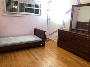 Youth bedroom set with bed frame, box mattress, and vanity with mirror for Sale in El Cajon, CA