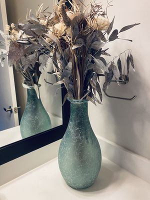 Vase with fake flowers - Green glass for Sale in Quincy, MA