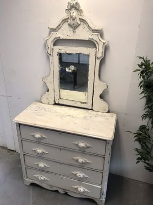 VINTAGE ANTIQUE WHITE VANITY CABINET 76 tall, 19 in deep and 38 in wide for Sale in Fountain Inn, SC