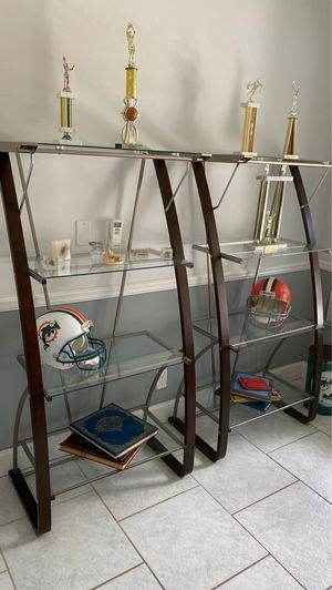 Glass desk and matching shelves for Sale in Tamarac, FL