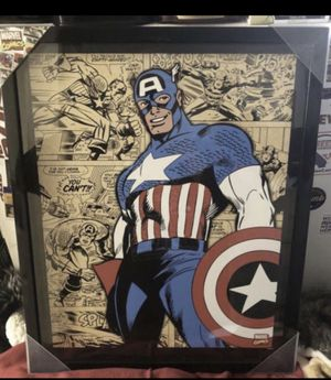 New captain America pix in a glass frame very nice collection collectibles new $$30 for Sale in Rancho Cordova, CA
