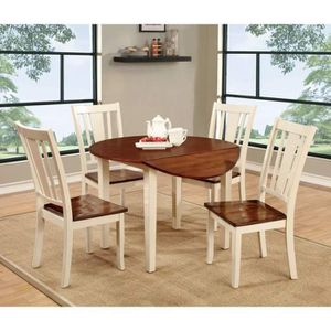 VINTAGE WHITE CHERRY FINISH 5 PIECE ROUND LEAF KITCHEN DINING TABLE SET / COMEDOR MESA SILLAS for Sale in Riverside, CA