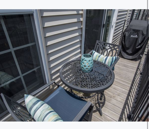 Metal Patio Table and Chairs (with cushions, pillows and lantern)