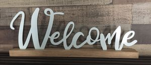 Light Blue Welcome Home Sign Decor for Sale in San Antonio, TX