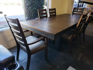 Large new 7pc dining room table set tax included for Sale in Hayward, CA