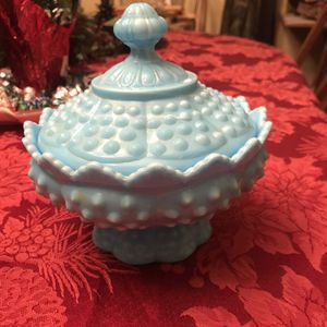 Felton Hobnail Rare Blue Milk Glass Covered Candy Dish for Sale in Jackson Township, NJ