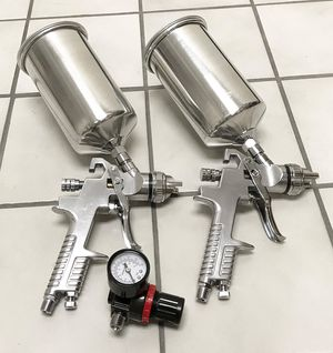 New $50 HVLP Air Spray (2 Gun Set) Kit Auto Paint Primer Basecoat Clear coat Gravity 1.3 and 1.8mm for Sale in South El Monte, CA