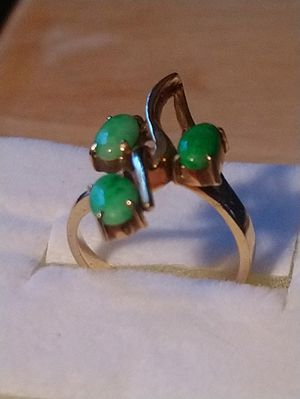 Elegant 14k Yellow Gold Ring with Three Emeralds for Sale in Peabody, MA