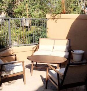 New!! Patio set, 4 pc coffee table patio set, outdoor conversation set, chat set, patio furniture , beige and brown for Sale in Phoenix, AZ