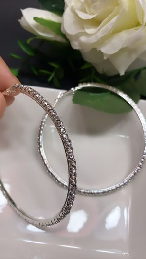 Silver Plated 86mm Big Circle Rhinestone Hoop Earrings, Silver Color for Sale in Los Angeles, CA