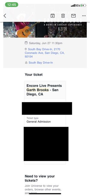 Garth Brooks live stream ticket 11:30 PM 6/27 $75 OBO for Sale in San Diego, CA